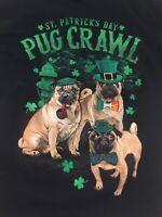 St Patrick's Day Pug Crawl T-Shirt Black Dogs Humor Size Men's L Large NEW