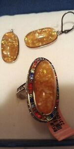 Opal ring and earrings