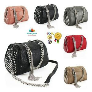 Women's Studded Crocodile Pattern Hand Bag/Shoulder Bag With Tassel Charm Detail