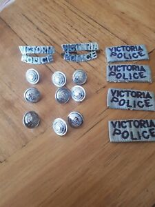 1960's Circa 9 Victoria Police Buttons,  shoulder epaulette tags and badges.