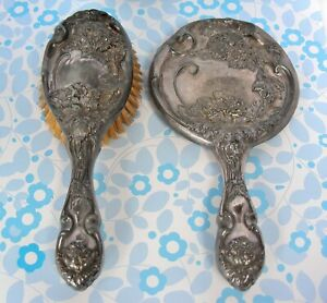 Antique Hope Silver Co. Hair Brush & Mirror Set Silver Plate
