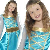 GIRLS KIDS BLUE TUDOR MEDIEVAL PRINCESS FANCY DRESS COSTUME RENAISSANCE NEW