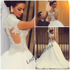 Gorgeous Pearls Tulle Wedding Dress A Line White/Ivory Customized Bridal Gown