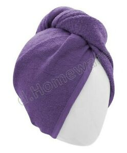 100% Cotton After Shower Hair Drying Wrap Towel Quick Dry Hair Turban Purple