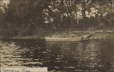 Ashfield MA Pond Boat & Small Dock c1910 Real Photo Postcard