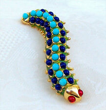 Signed KJL Turquoise Green Caterpillar Turquoise Blue Stones Brooch Pin