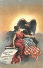 GREETINGS FROM PICTURESQUE AMERICA FLAG EAGLE PATRIOTIC POSTCARD (c. 1910)