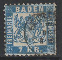 Germany (Baden) - 1868, 7k Blue stamp - G/U - SG 44