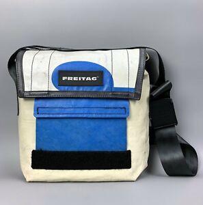 FREITAG Dexter White Blue Bag Messenger Size Medium Cycling Crossbody Strap