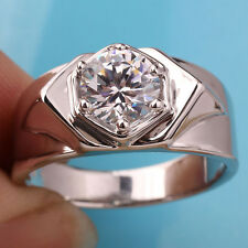Men Jewelry 925 Sterling Silver Ring Size 11 Clear CZ 6-prong Setting