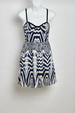 Shona Joy Blue & White Print Dress Size 10 AUS