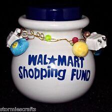Piggy Bank Walmart Shopping Fund Ceramic Christmas Shopping Money w/ Fun Charms
