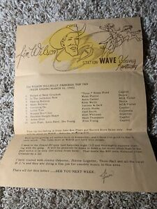 1954 Radio Station WAVE Country Music Survey Chart Louisville Ky