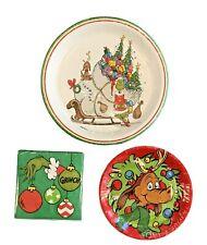 Dr. Seuss Grinch Sleigh Christmas Holiday Paper Dinner Dessert Plates & Napkins