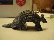 """Vintage Armadillo #20 - Hand Carved Stone, Red Eyes, 7"""" x 3"""""""