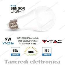 Lampadina led V-TAC 9W = 60W E27 VT-2016 A60 con sensore luce crepuscolare globo
