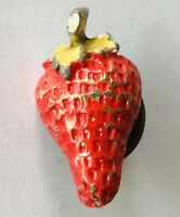 Red Strawberry Fruit Retro Brooch Pin Badge Rare Vintage (H1)