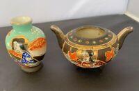 Vintage Pair 2 Satsuma Moriage Hand Painted Miniature Vase Pot