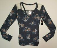NO BOUNDARIES NOBO LS BRUSHED TEE T SHIRT V NECK BLUE FLORAL LACE XS S M NWT
