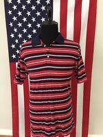 vtg 90s Soft & Thin Acrylic Striped Polo Shirt men's MEDIUM mardi gras red 8520