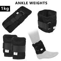 2PCS Adjustable Ankle Weights Strap Black Wrist Fitness Running Strength 1kg