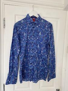 Pure Hatico Men's Retro Floral Blue Shirt Slim Size M