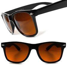 Classic Vintage Retro Amber Lens Blue Blocker Driving Horn Rimmed Sunglasses