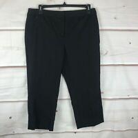Alfani Plus Size High Rise Cropped Straight Leg Womens 14W Black Capri Pants New