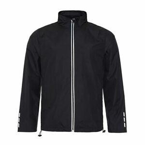 Mens Running Jacket Black Windbreaker Showerproof Sport Active Casual Zip Size M