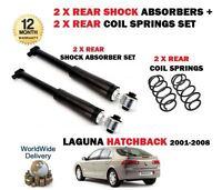 FOR RENAULT LAGUNA hatchback 2001-2008 2 X REAR SHOCK ABSORBER + 2x COIL SPRINGS