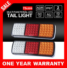 2x LED Tail Lights 12V Brake Reverse 75LEDs Trailer Truck Boat Indicator Lights