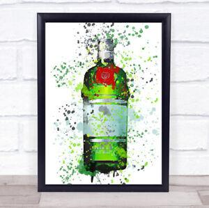 Watercolour Splatter Green Red Dry London Gin Bottle Wall Art Framed Print