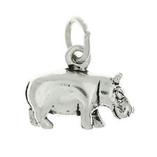 STERLING SILVER 3D HIPPOPOTAMUS HIPPO SOLID CHARM PENDANT
