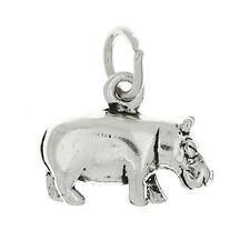 STERLING SILVER 3D HIPPOPOTAMUS HIPPO SOLID CHARM PENDANT