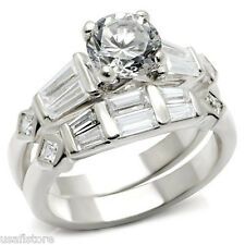 Rhodium Ep Ladies Ring Set 1.45ct Round Shape Wedding Engagement