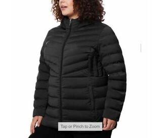32 Degrees Heat Ladies Hooded Quilted Warm water resistant Jacket Black Plus 2X