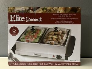 Elite Gourmet 5 Quart, Double Buffet Server & Warming Tray, Stainless Steel, NEW