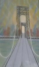 George Washington Bridge Mixed Media Painting-1941-August Mosca