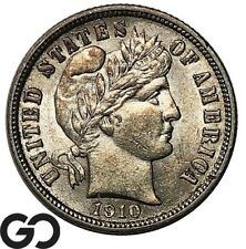New listing 1910 Barber Dime, Lustrous Bu+ Silver 10c