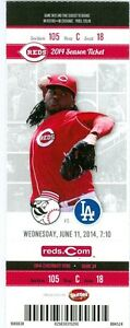 2014 Reds vs Dodgers Ticket: Johnny Cueto fans 12 in 6 innings/Jay Bruce HR