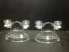 Vintage Clear Diamond Cut Glass Double Candle Holder Pair