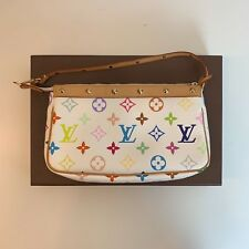 Authentic Louis Vuitton Accessories Pochette Monogram White Multicolor Takashi M