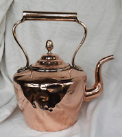 Extra Large Heavy Victorian Copper Kettle - Acorn Lid - c 1880s / 1890s.