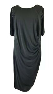 M&S Black Formal Occasion Dress UK 28 R Plus Size Gathered Evening Party Wiggle
