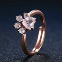 Animal Paw Ring Bear Rose Gold Cat Dog Women Adjustable Love Heart Charm Jewelry