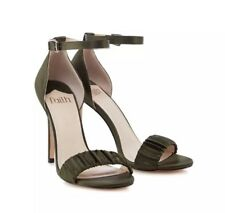 Faith Khaki Green Satin Lannister Ankle Strap Sandal Heels Size 5 Worn Once