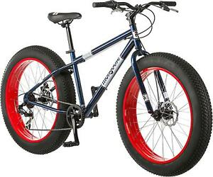 Mens Fat Tire Mountain Bike 26 In Wheels Mongoose Dolomite 7 Speed with Red Rims