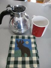 1.8 Quart Classic Whistling Tea Kettle ,Moose towel and 20 oz cup by Nautica