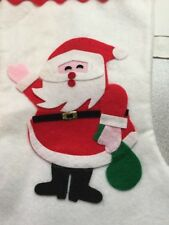 Finished Completed Christmas Stocking Felt Santa Holly Red Green Vtg