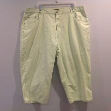 Bill Blass Jeans Women Cropped  Pants Plus Size 24W Capris Lime Casual Cotton